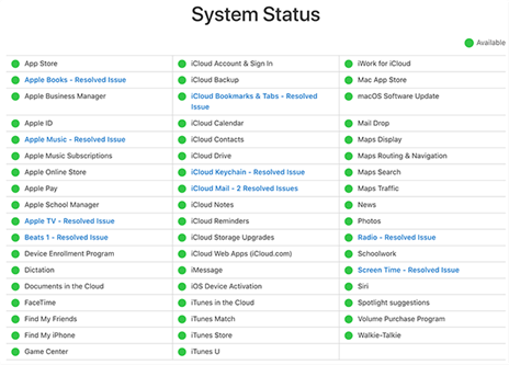 Verify if Apple servers are all up