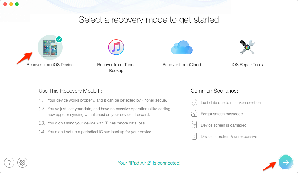 How to Recover Deleted Data on iPad – Step 2
