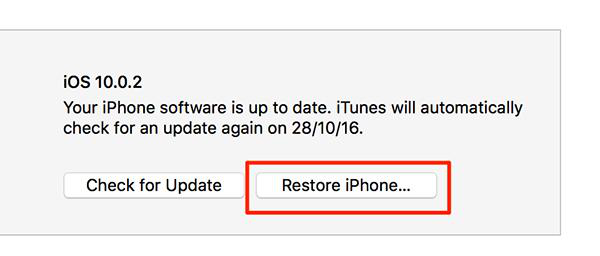 Restore an iPhone using iTunes