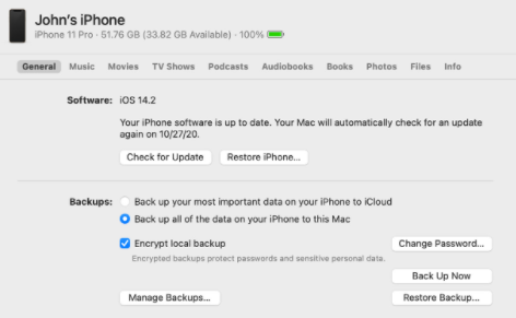 iPhone Backup Protected by a Password