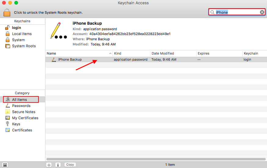 iPhone Backup Password Recovery on Mac via Keychain - Step 2