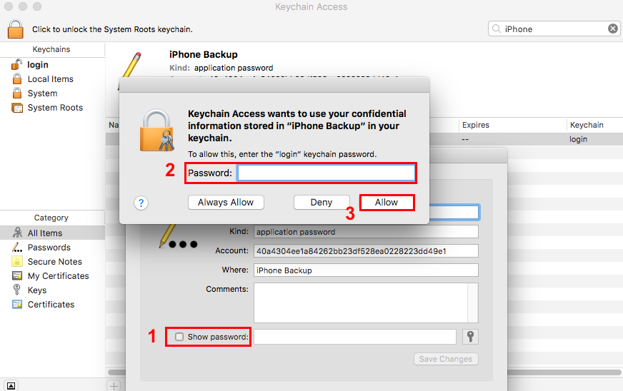 iPhone Backup Password Recovery on Mac via Keychain - Step 3