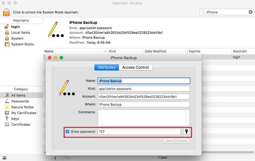 iPhone Backup Password Recovery on Mac via Keychain - Step 4