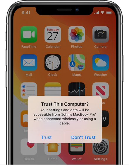 Tap Trust This Computer to Connect iPhone to iTunes