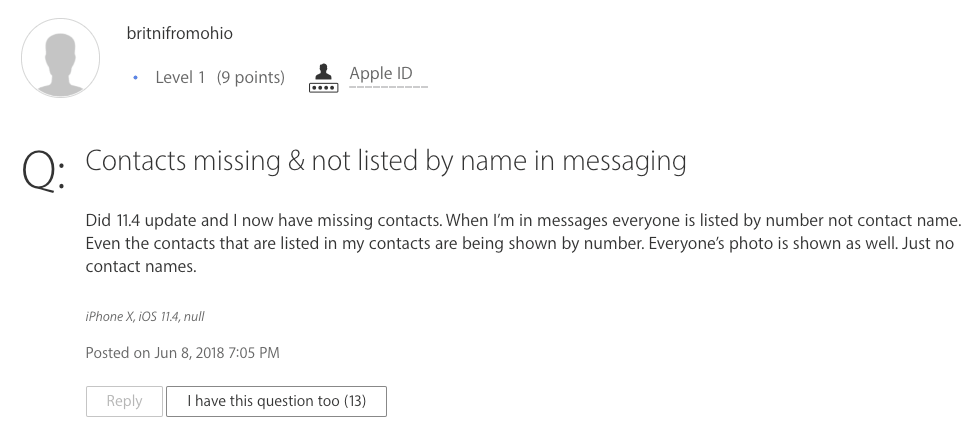 An iPhone X User's Contacts Missing Names after iOS Update