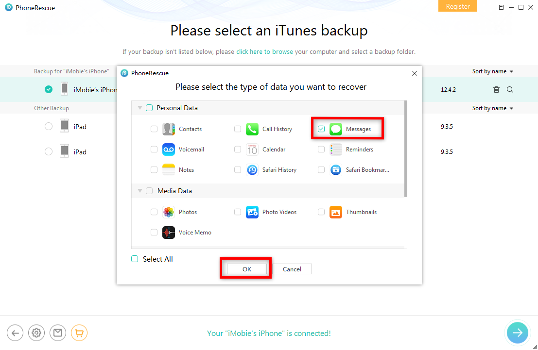 How to Get Backup Deleted Messages from iTunes Backup – Step 3