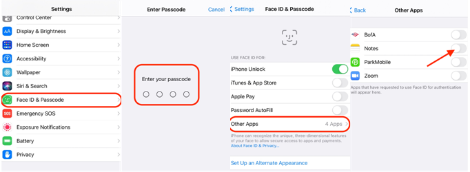 Enable Face ID for Notes