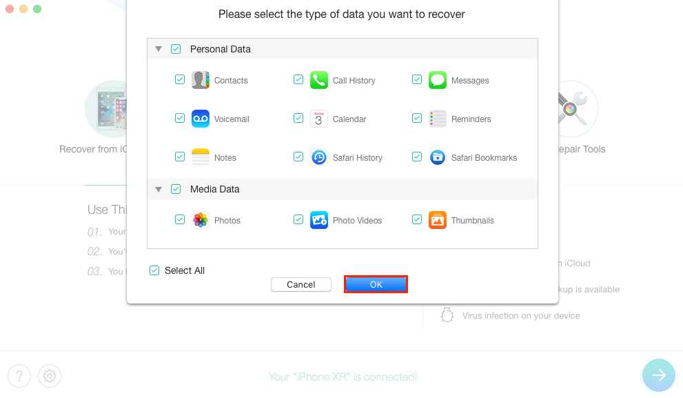How to Recover Data from iPhone Internal Memory - Step 2