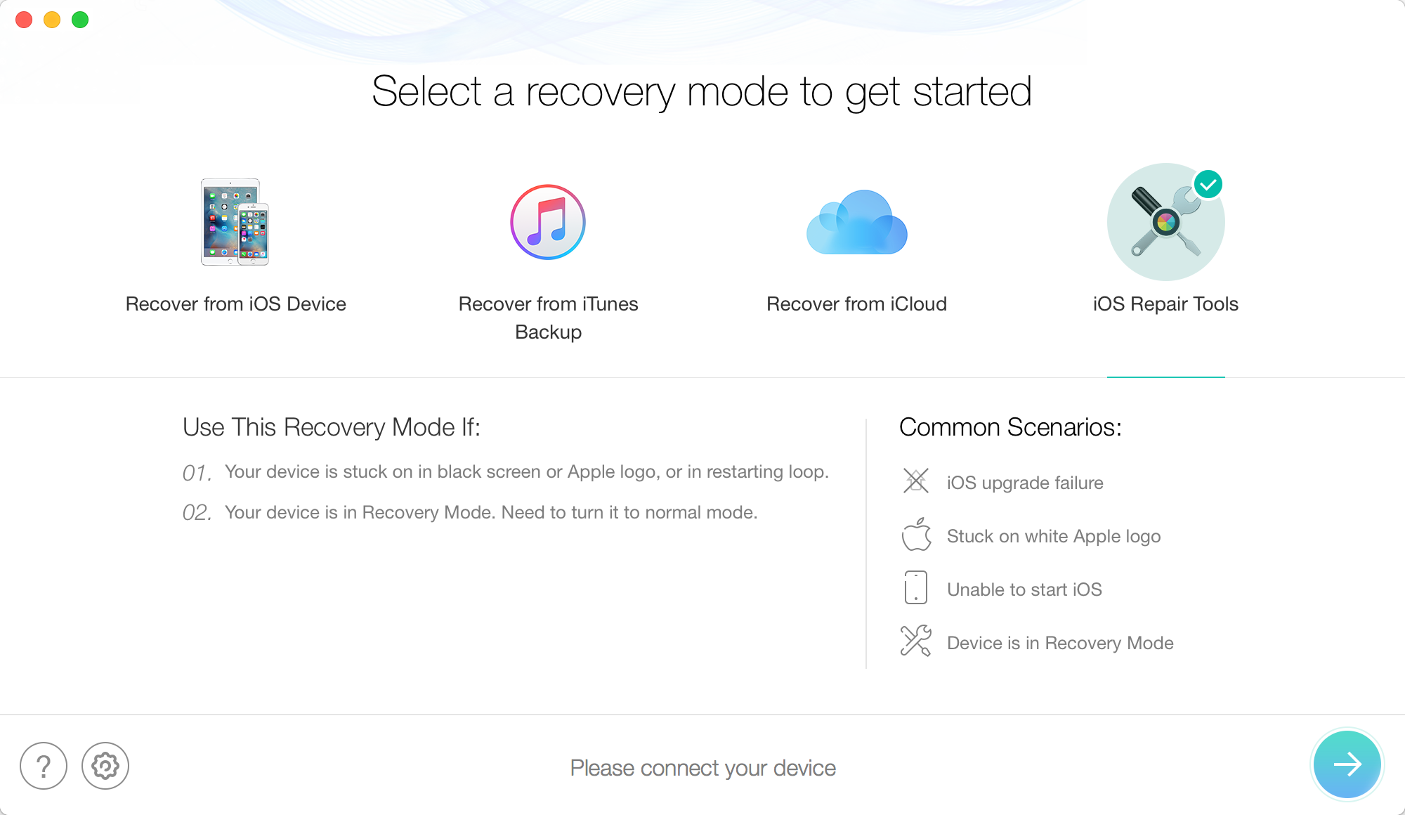 Fix iPhone/iPad Frozen During Update without Data Erasing – Step 1