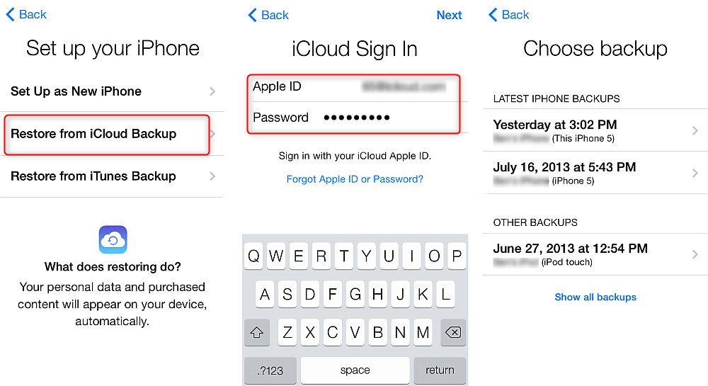 Fix iPhone Keyboard Not Showing - Restore through iCloud - Step 3