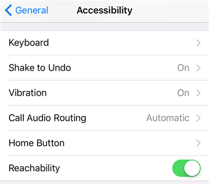 Turn off the Reachability feature on iPhone