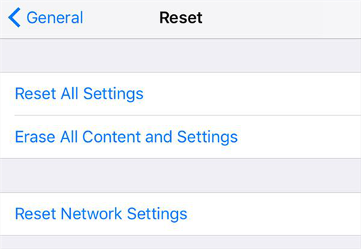 Reset iPhone to fix the keyboard not working issue on iPhone