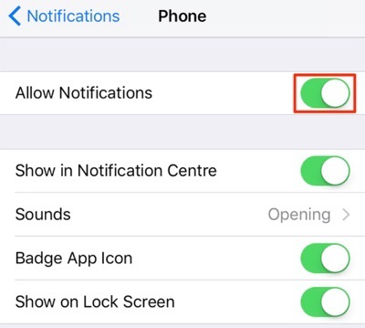 Fix iPhone Not Showing Missed Calls – Allow Phone App Notifications