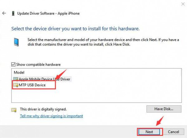 Fix iPhone not Showing Up in Windows Explorer via Change Active Driver - Step 3