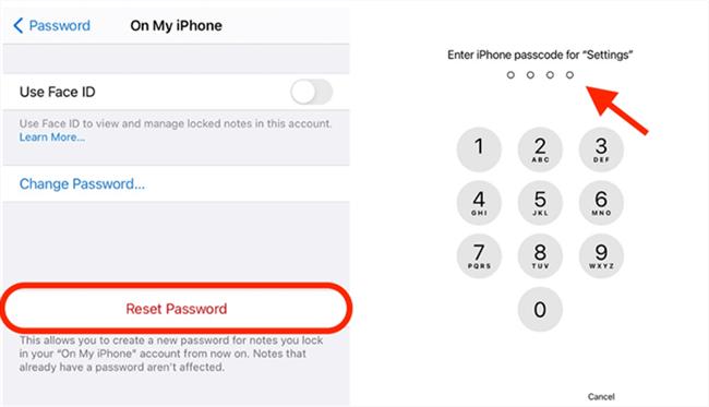 Tap on Reset Password