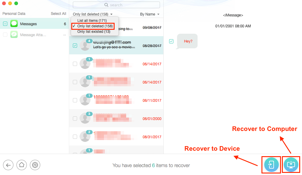 Recover Deleted Messages with PhoneRescue for iOS