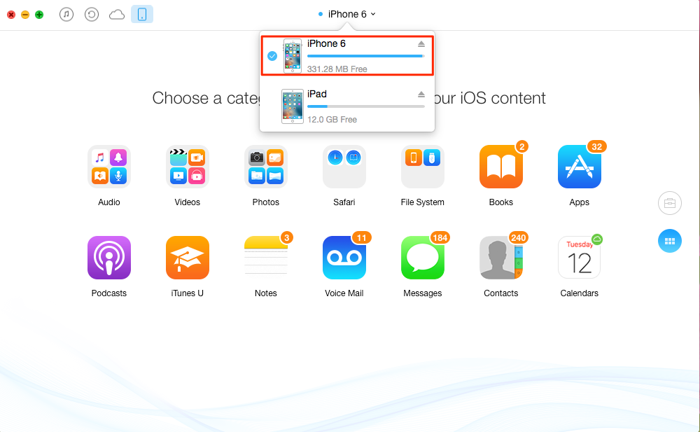 iPhone to iPad transfer – transfer several items – step 1
