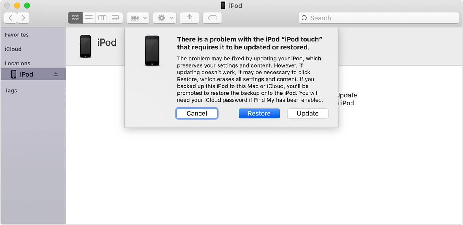 Restore iPod via iTunes
