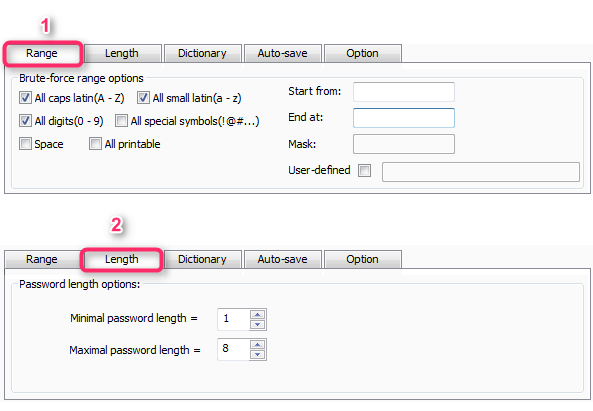 Set the Password Range and Length