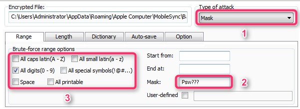 Mask attack type of iSunshare iTunes Password Genius