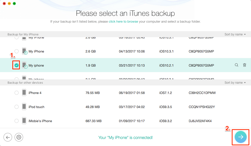 Fix Corrupt or Not Compatible iTunes Backup: Restore iPhone iPad with PhoneRescue– Step 3