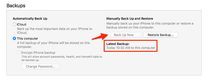 Make an iTunes Backup Even Back Up Now Button Greyed Out