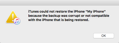 iTunes Could Not Restore the Because iTunes Backup Was Corrupt or Not Compatible
