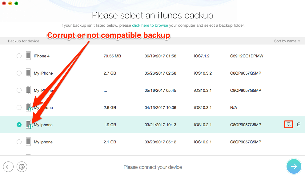 Correctly Locate Corrupt or Not Compatible iTunes Backup with PhoneRescue – Step 3