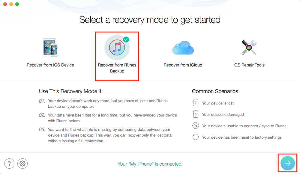 Fix Corrupt or Not Compatible iTunes Backup: Restore iPhone iPad with PhoneRescue– Step 2