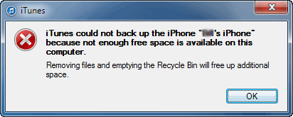 iTunes Cannot Backup iPhone – No Enough Space on Computer