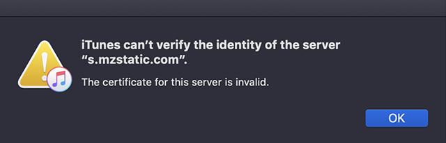 iTunes Server Identification Error
