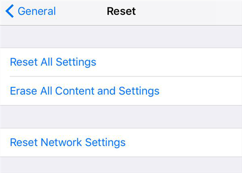 Reset iPhone to the factory settings
