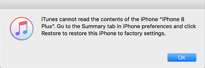 iTunes Cannot Read Your iPhone Content