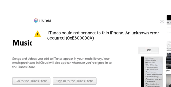 iTunes Could Not Connect to This iPhone (0xe800000a)