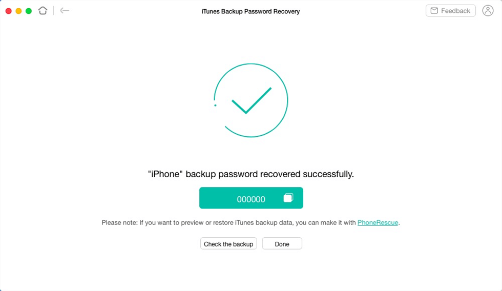 How to Recover iTunes Backup Passcode with Ease via AnyUnlock - Step 4