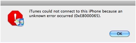 iTunes Error 0xE8000065