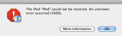 iTunes Error 1600