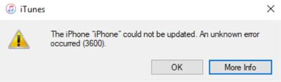 itunes update error 3600