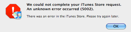 iTunes Error 5002 – Screen Overview