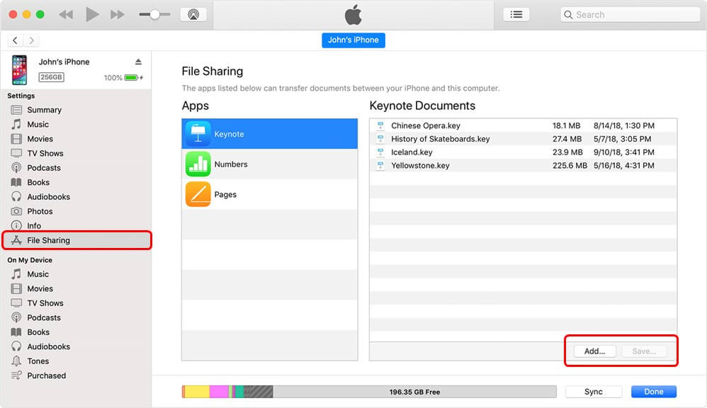 Share App Files with iTunes