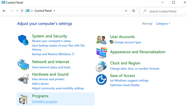 Uninstall Programs on Windows