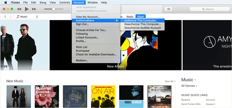 How to Fix iTunes Movie Not Playing via Log Out and Log in -Step 3