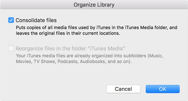 How to Fix iTunes Original File Could Not Be Found via Consolidating iTunes Library -Step 3