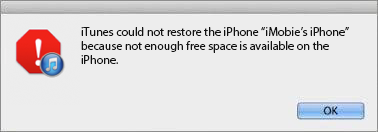 Not Enough Space on iPhone to Restore