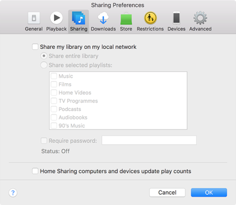 Fix: iTunes Keeps Opening - Turn off Sharing in iTunes