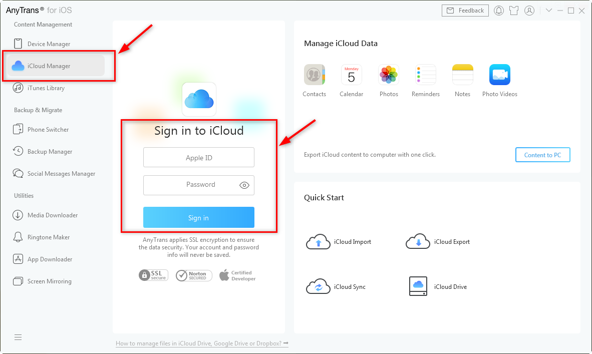 Log-in to Your iCloud Account in AnyTrans