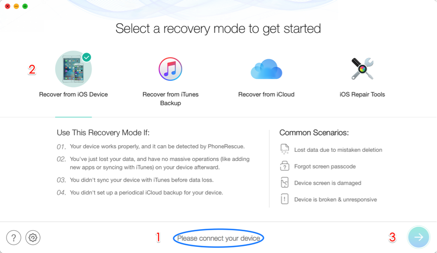 How to Recover Lost Data after iOS 11.4 Update on iPhone/iPad – Step 2