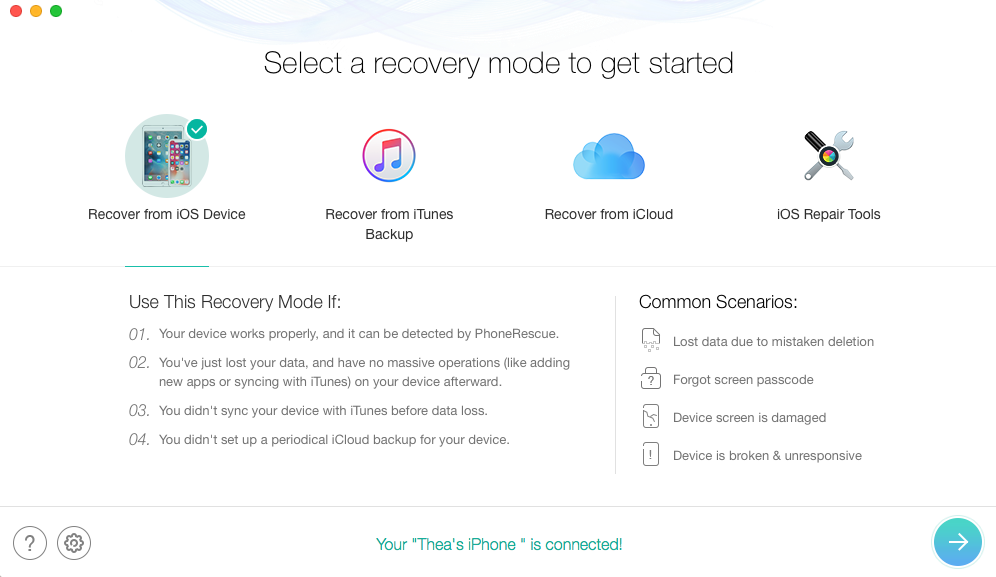 iOS 12 Data Recovery: Recover from iPhone iPad without Backup - Step 1