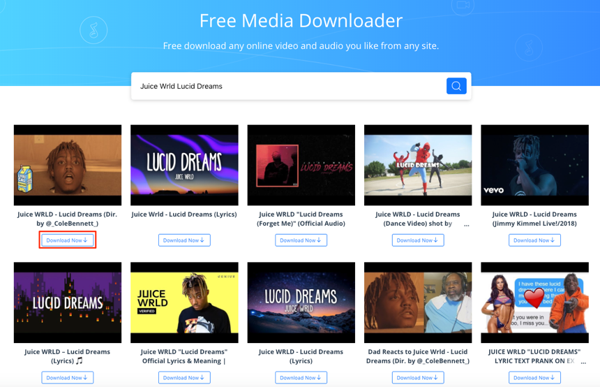 Free Download Juice Wrld Lucid Dreams with AnyGet – Step 3