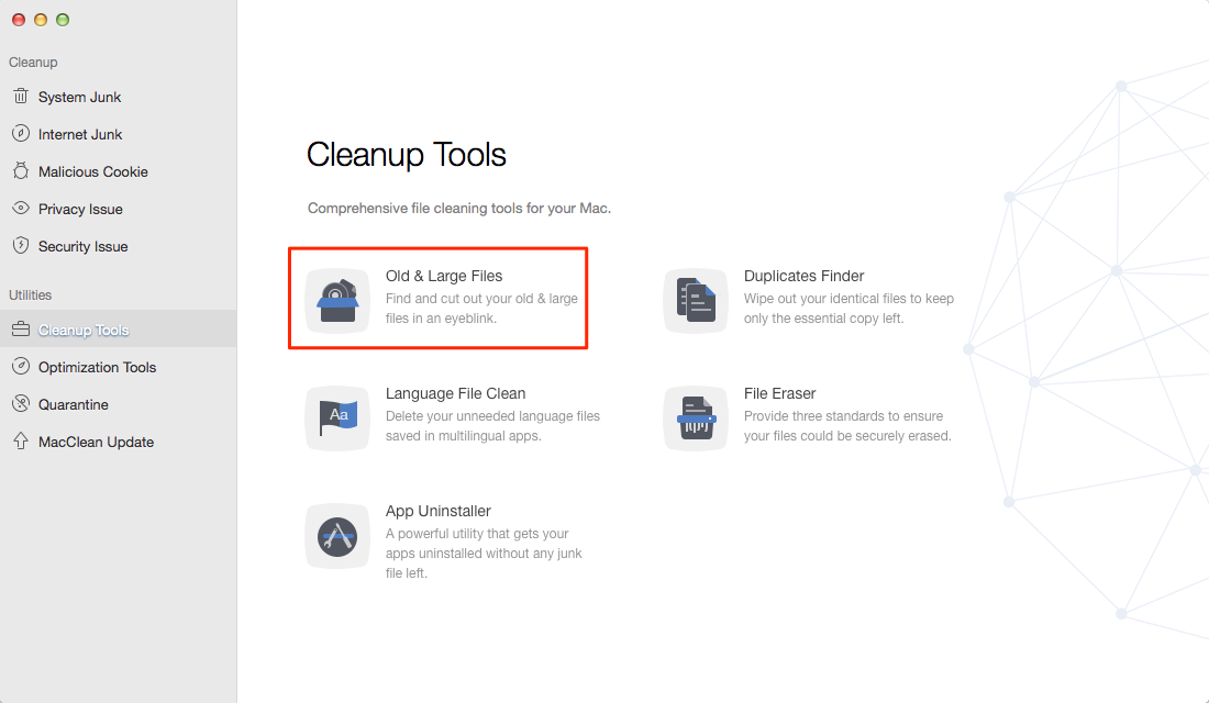 Find Large Folders on Mac with MacClean – Step 1